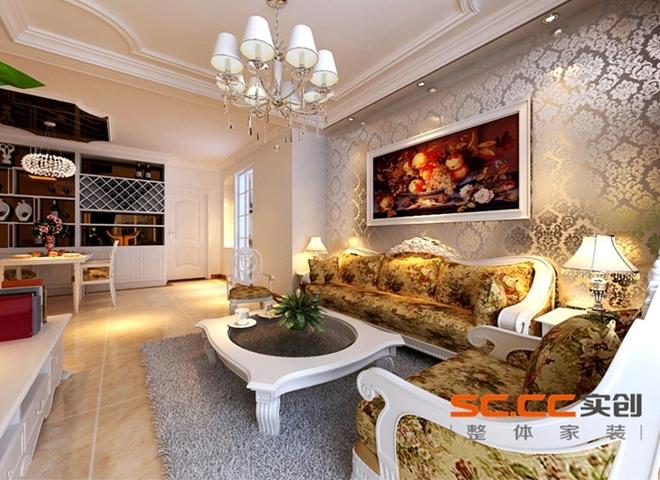 设计理念:客厅是每个人生活运动最频繁的地方,同时也是接待客人最直接的场所,因此客厅的设计尤为重要。欧式线条的吊顶,暖黄色的地面砖,以及有质感的壁纸,真个空间浑然一体,色彩明快又不失稳重。再配以欧式的家具,这不就是业主爱好的所在! 设计理念:主人有欣赏美酒的嗜好,所以在餐厅处利用原有结构的拐角处定制了一个酒架,同时具有展示功能。