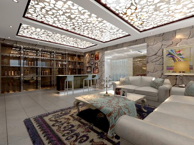 欧式客厅水晶帘装修效果图