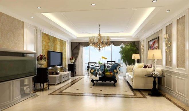 客厅的白色护墙板沙发背景