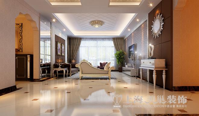 半岛欧式装修四居室160平样板间效果图——客厅全景