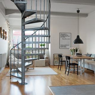 60-80平米复式工业风格灰色楼梯装修效果图大全2014