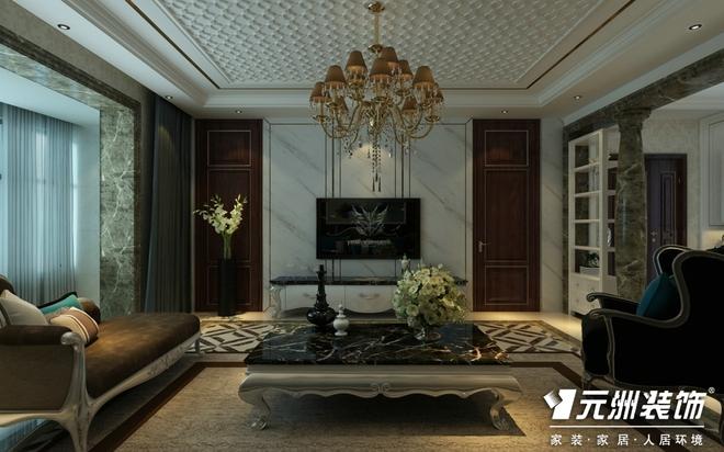 沙发背景采用拼接的黑檀木的线条感和白色石材
