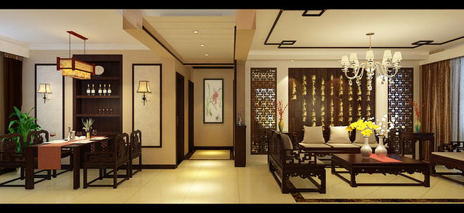 中国传统的室内设计融合了庄重与优雅双重气质。现代的中式风格更多的利用了后现代手法,把传统的结构形式通过重新设计组合以另一种民族特色的标志符号出现。本方案遵循业主喜好,整体以简单为主。电视墙使用隐形门,使电视墙统一完整,同时加大了客厅的空间,家具主灯也居中。客餐厅背景墙主要使用清新淡雅的壁纸,整体造型简单柔和展现了业主平和而淡定的心态。中式风格的客厅具有内蕴的风格,搭配业主想要的清代中式家具,但颜色仍然体现着中式的古朴,加上后期精心的配饰,字画,古玩,瓷器,宫灯,博古架,山水盆景等,渲染出满室书香,一堂雅气