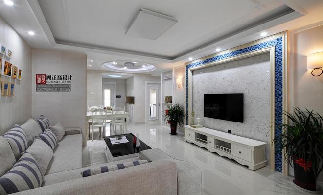 130平米弘阳尊邸现代欧式风格客厅设计