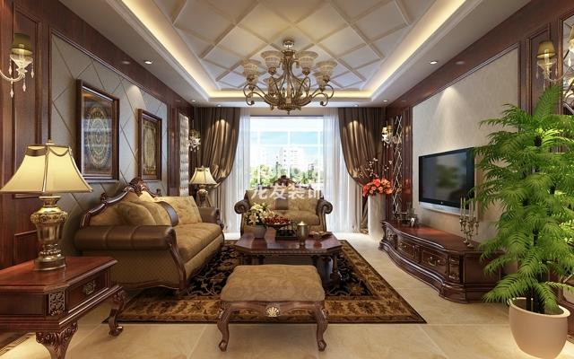 海棠湾d2户型131平米三居室优雅欧式装修设计效果图