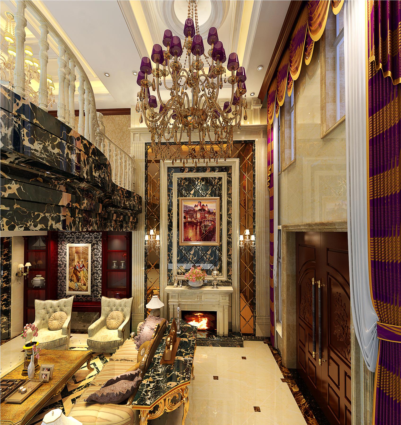 深色的橡木家具,色彩鲜艳的布艺沙发,浪漫的罗马帘、精美的油画、制作精良的雕塑工艺品,构成室内庄重、雍容华贵的气氛。茶室为中式风格,古香古色、雕梁画栋呈现出耐人寻味的内敛。居室强调立体照明,顶部用大型灯池,并用华丽的 枝形吊灯营造气氛。大量大理石在室内空间的使用,整体空间成熟稳重而又不失高贵、华丽。
