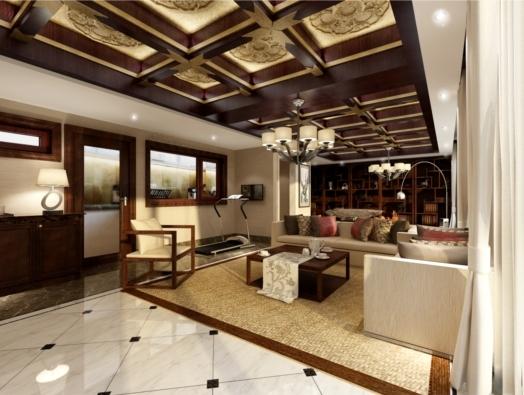 上海尚层别墅装修南山雨果中式风格实景图