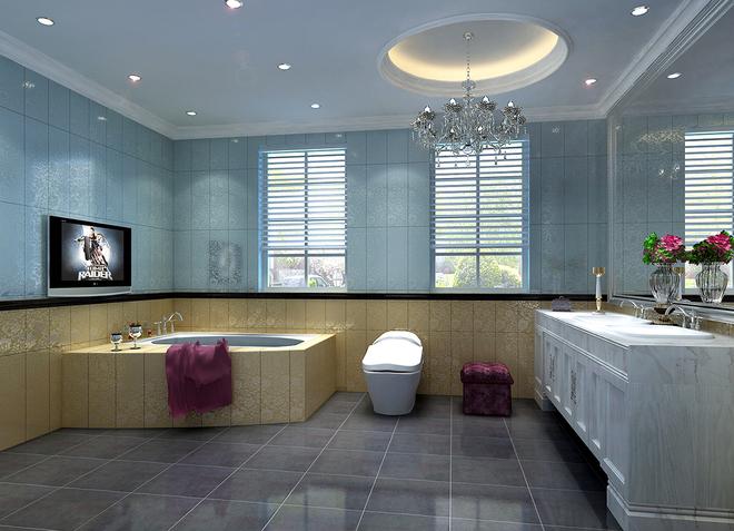 欧式挑空客厅顶部用石膏板做造型顶,并用华丽的欧式吊灯营造气氛.