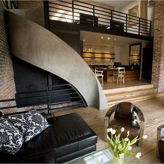 loft欧式古典风格客厅楼梯装修效果图大全2015图片