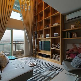 60-80平米loft北歐風格白色客廳電視背景墻裝修效果圖