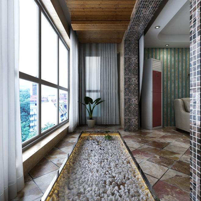 斜铺角花砖,使空间更具延伸感;红砖喷砂的酒柜组合,满足平时客户喜爱