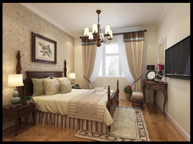 客厅:柔美的壁纸与白色的护墙板及美式壁灯更自然美观大方,米黄色的图片