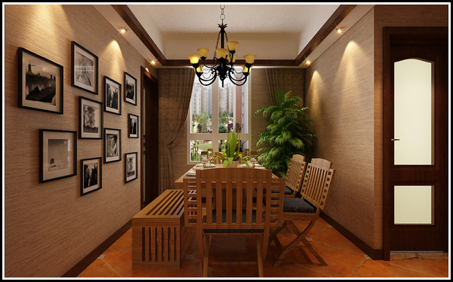 本方案定位于现代简约风格.首先利用空间在走廊处做了个独特的垭口,新建墙体中镶嵌艺术玻璃,在空间上划分了区域,更加是室内的一个亮点,美观大方;其次,就是客厅的设计沙发背景墙大胆的采用了地砖上墙的做法,砖的颜色和整个风格的单配融为一体,墙砖的设计代替一切繁杂与装饰。设计以不矫揉造作的材料营造出豪华感,还有家具的搭配使主人有一种回归自然的清新感和舒适感。再者就是客厅,餐厅,卧室的顶面全都采用木线条作为装饰,简单的装饰提升了整个空间的非凡气质。餐厅的顶上镶嵌木质中式花格,寓意富贵吉祥。总览整个空间无一不是设计师的