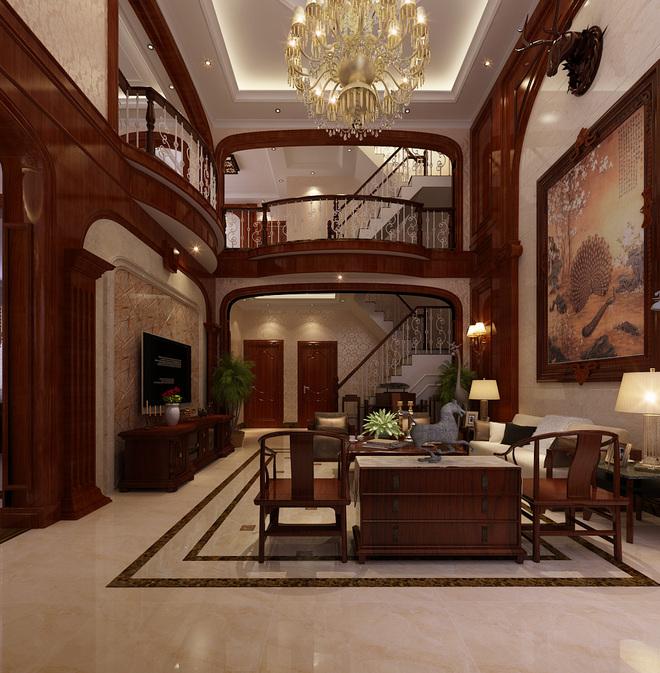 新中式风格-装修效果图  本案在客厅空间,镶嵌实木护墙板的整体墙面