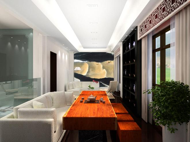 客廳仿石材地面,石材電視背景墻
