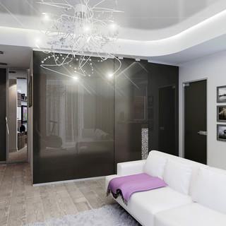 48平米开放式 玻璃墙卧室