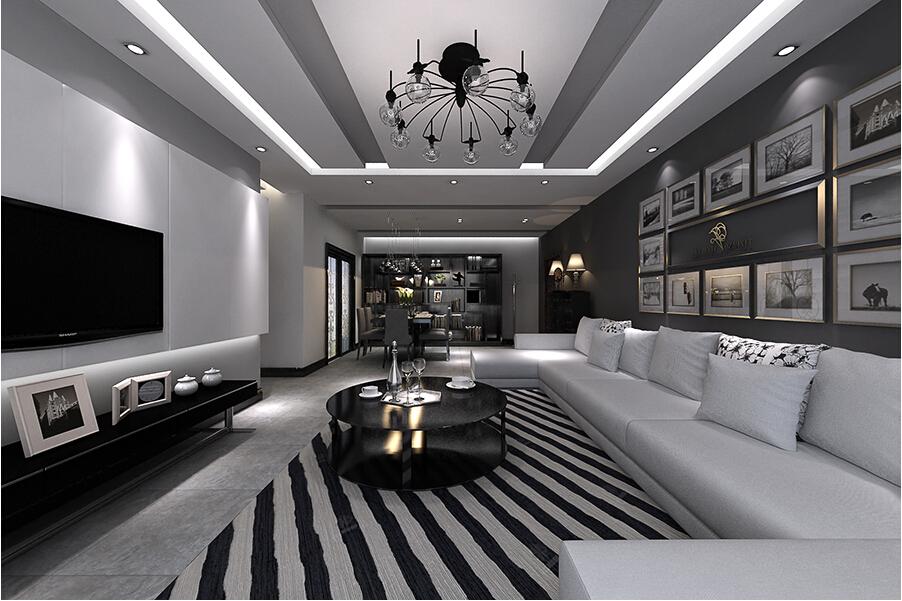 兴业小区110平米三居室现代黑白灰装修案例
