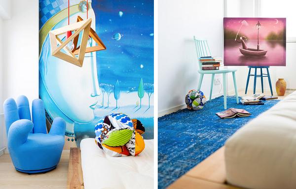 鲜艳的多彩混搭一居室公寓装修效果图 活泼又丰富