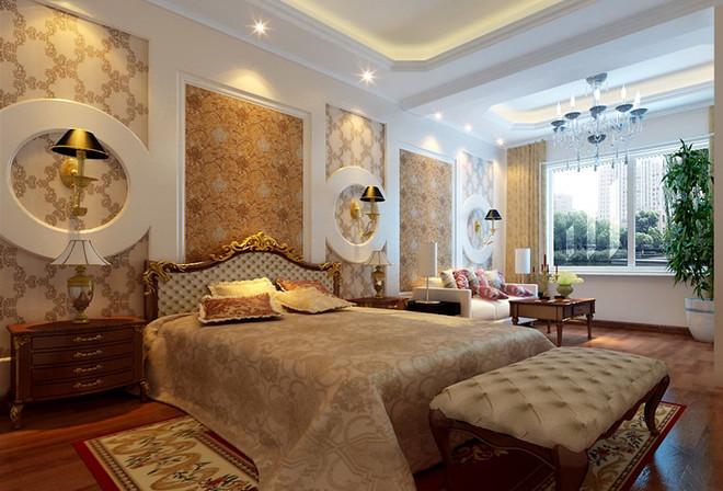 咖色欧式花纹图案墙纸从远处看十分简约,在白色的天花板,门板,欧式柱