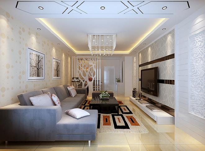 玻璃马赛克+镂空精美隔断+雕花石膏壁纸电视墙=白色