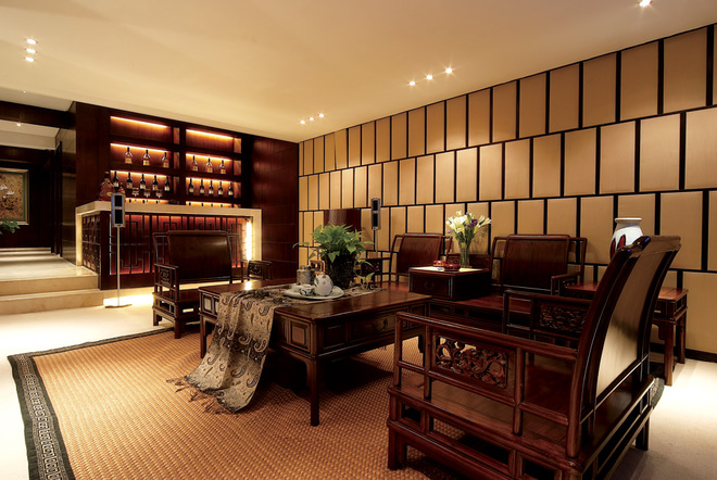 中式风格的古色古香与现代风格的简单素雅自然衔接
