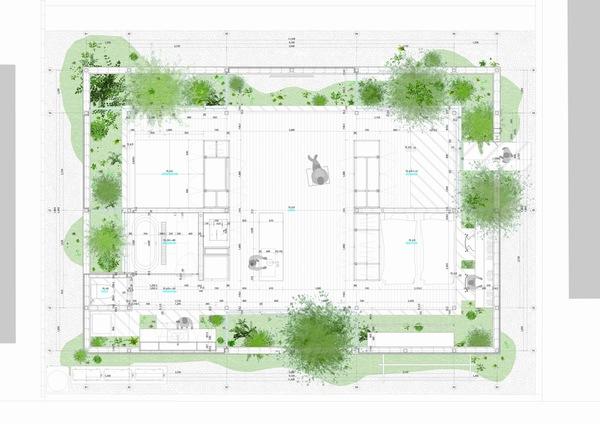 四周无窗的绿色环保日式住宅装修效果图