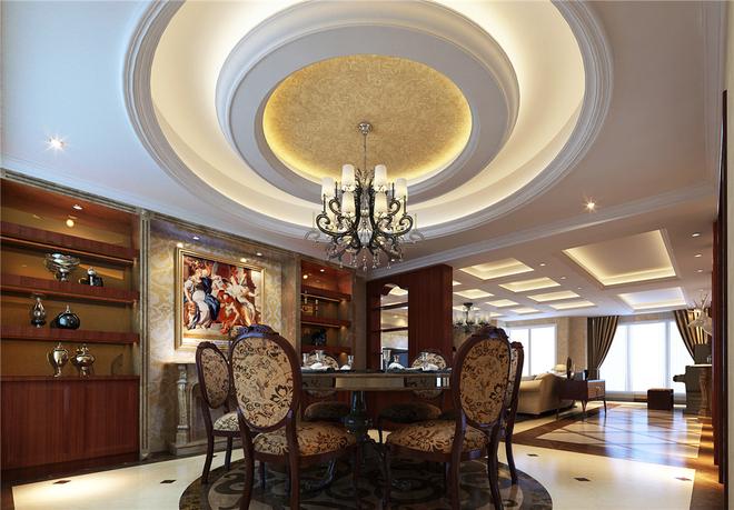 米黄色的墙面造型配合深咖色的欧式家具,尽显欧式的华贵和雍容,既保留