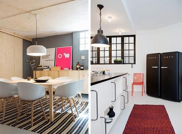 大玩色彩混搭的摩登瑞典公寓装修效果图