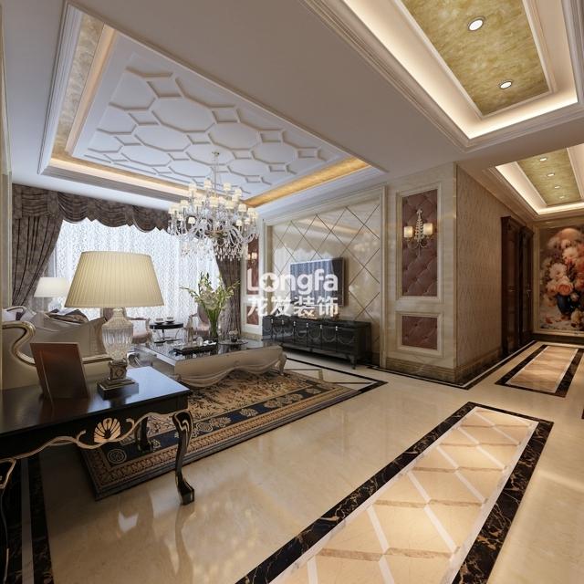 欧式客厅顶部喜用大型灯池,并用华丽的枝形吊灯营造气氛.