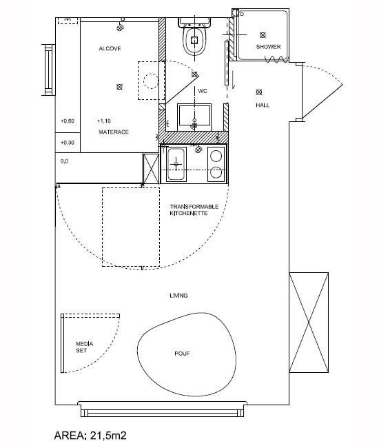 21.5平方米煊色小公寓装修效果图