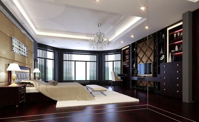 主卧采用了东南亚风格家具最常使用的实木家具,棉麻的床上用品以及