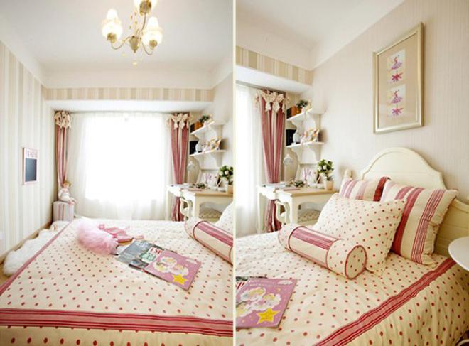 80后超唯美小女人情调的典雅小窝。古典欧式风格兼备豪华、优雅、和谐、舒适、浪漫的特点 简欧风格则在古典欧式风格的基础上,以简约的线条代替复杂的花纹,采用更为明快清新的颜色,家具漆多为白色,本案中为了是软装与硬装色调统一,家具采用了奶白色混油与橡木色混搭的油漆工艺。