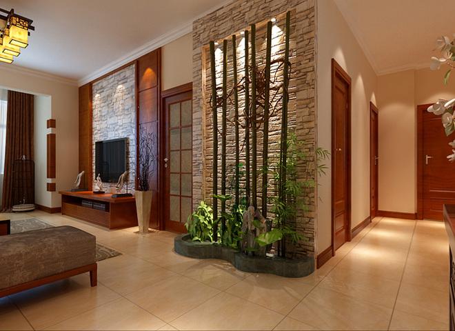 入户玄关 意境玄关 设计理念;入户门是整个居室的门面,结合禅意空间