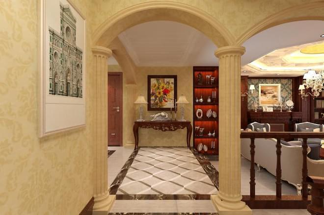 欧式风格强调以华丽的装饰、浓烈的色彩、精美的造型达到雍容华贵的装饰效果。欧式客厅顶部喜用大型灯池,并用华丽的枝形吊灯营造气氛。门窗上半部多做成圆弧形,并用带有花纹的石膏线勾边。入厅口处多竖起的两根豪华的罗马柱,以烘托豪华效果。欧式客厅非常需要用家具和软装饰来营造整体效果。深色的橡木或枫木家具,色彩鲜艳的布艺沙发,都是欧式客厅里的主角。还有浪漫的罗马帘,精美的油画,制作精良的雕塑工艺品,都是点染欧式风格不可缺少的元素。大面积的玻璃窗带来了良好的采光,落地的窗帘很是气派。布艺沙发组合有着丝绒的质感以及流畅的木