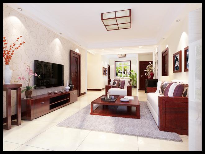 万达140平米新中式风格装修效果图  中国传统的室内设计融合了庄重与