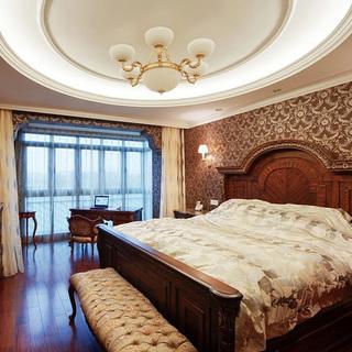 100-120平米欧式古典风格红色卧室装修效果图大全2015