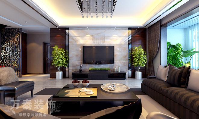 设计风格为当下流行的新中式风格。大面积素色条纹壁纸既有装饰作用有有拉伸空间的作用,清混结合的木作及纯净的地面的烘托下,营造出纯净且温馨的家居氛围。实木边框的布艺沙发,浅灰色的木纹石材电视墙,把新中式的空间概念提升。块面与线条的穿插、微妙的光影和纯粹的材料质感以及家具、窗帘、灯具等,在色、形、质上,都有内在的亲缘关系,构成了空间视觉统一。
