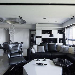 黑、白质材拼构出时尚大宅家
