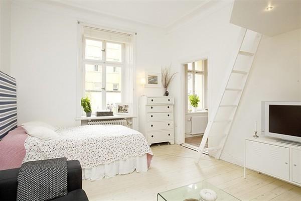 38平纯白地板小公寓装修效果图 充满田园风格和少女气息