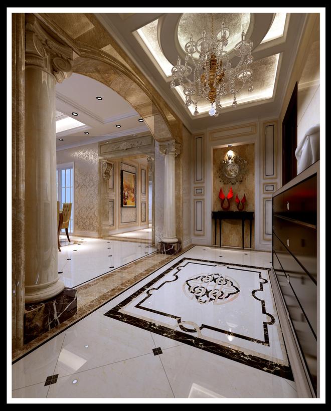 墙面饰面板,古典欧式壁纸等硬装设计与家具在色彩,质感及品味上,完美