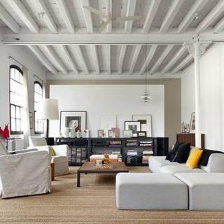 150-200平米loft简欧风格白色客厅装修效果图大全2015