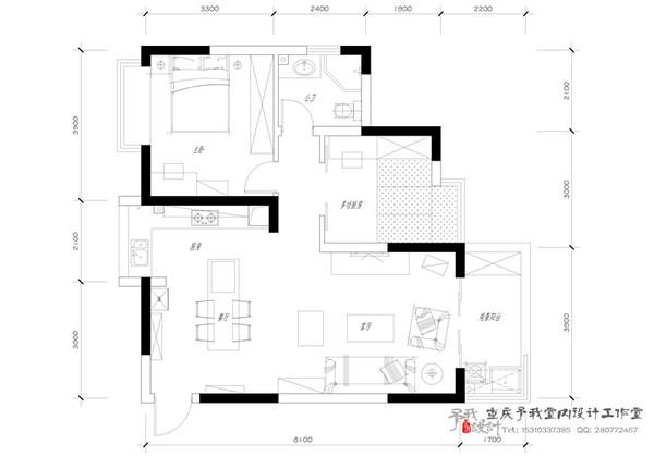 ◆予我设计◆作品《红配绿》---美式风格小户型装修效果图