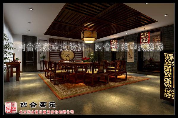 四合茗苑度尚中式会所装修设计效果图  16楼梯间玄关.