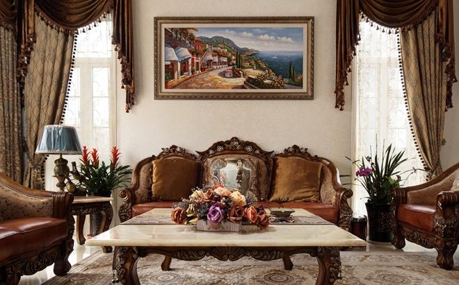 风格  美式风格 建筑面积/380平方米 装修主材/大理石,墙纸,微晶石图片
