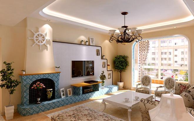 流线型的电视背景墙造型以及壁炉突出整体设计风格,以暖色调为