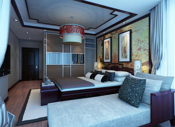 中式古典3居室装修效果图,傲骨国人