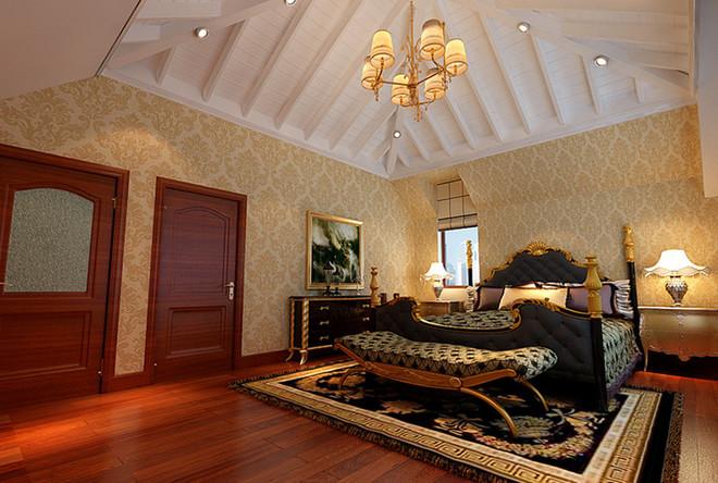 亮点:顶面造型配上典雅的欧式造型灯,床头使用香槟金色的软包床头