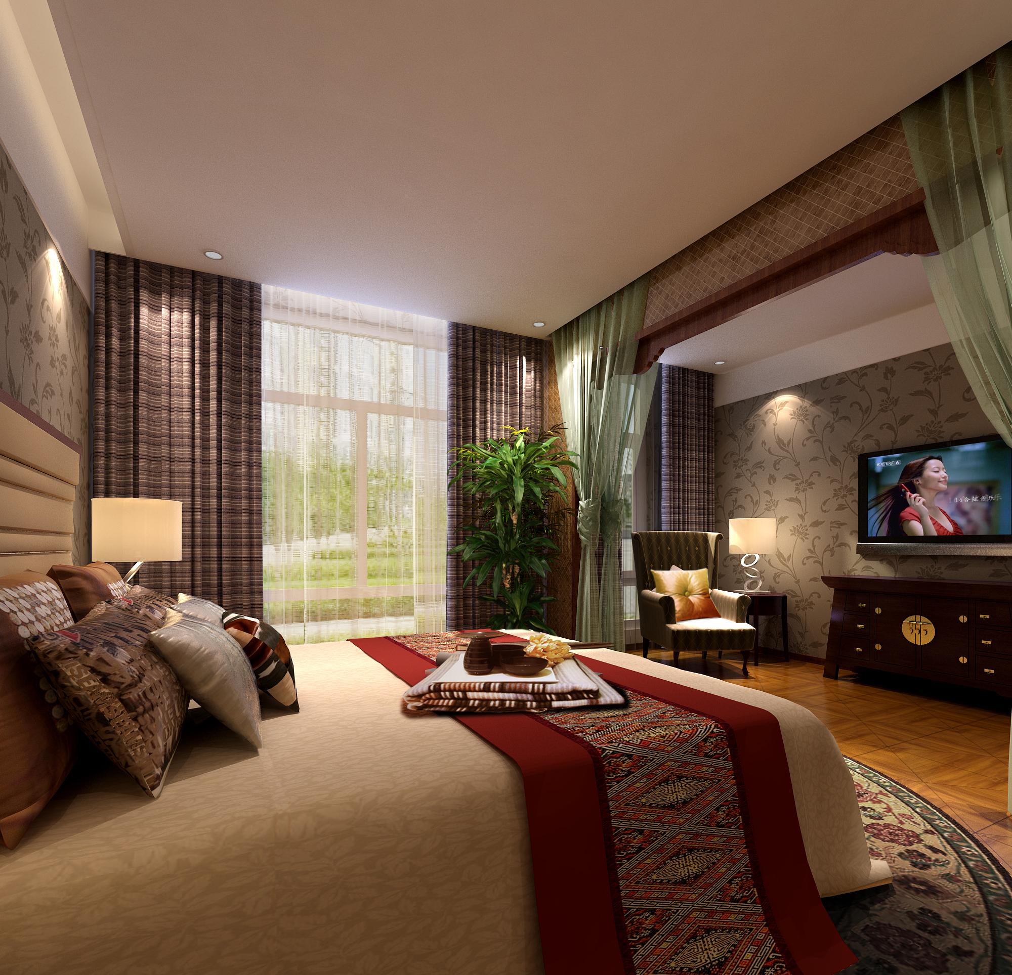 新中式木格栅床头背景墙