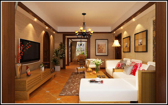客厅墙体瓷砖装修图
