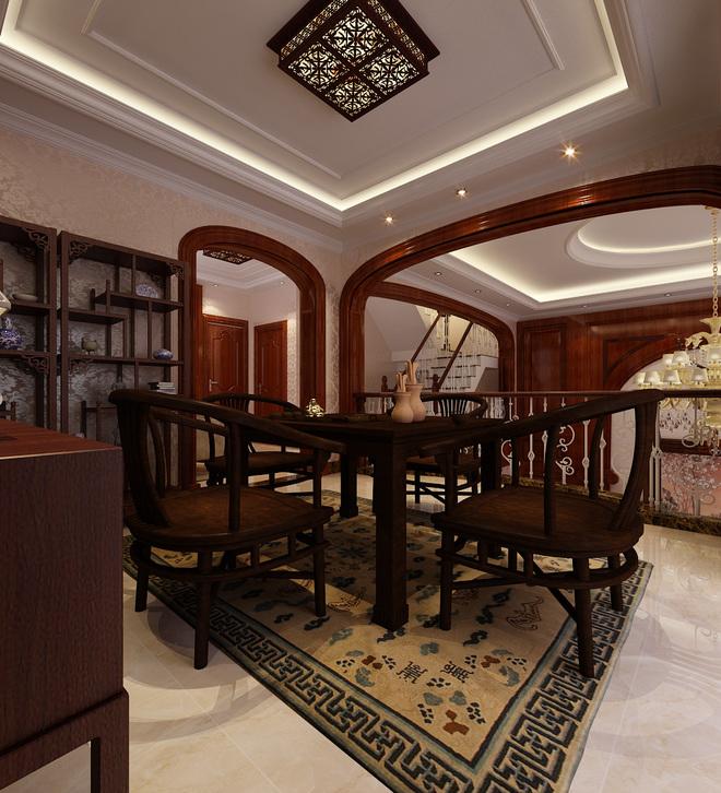 新中式风格-装修效果图  本案在客厅空间,镶嵌实木护墙板的整体墙面搭